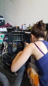 Amy cleaning the power supply